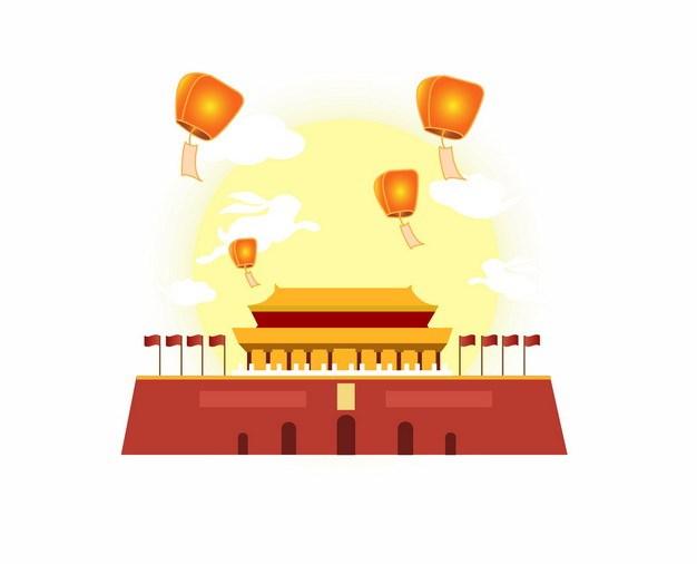 国庆节中秋节双节同庆天安门前放飞的孔明灯和黄色月亮464472png矢量图片素材 节日素材-第1张