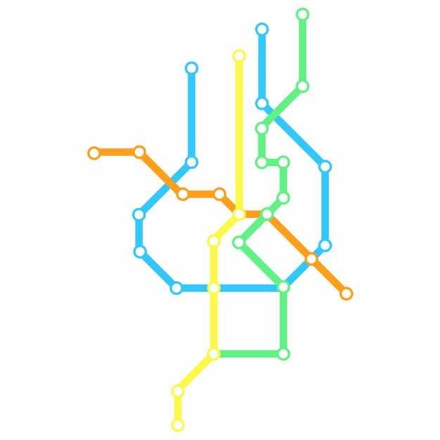 彩色线条金华地铁线路规划矢量图片771808