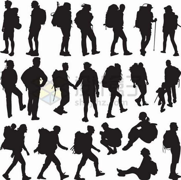 各种背包客徒步旅行者剪影515877png矢量图片素材