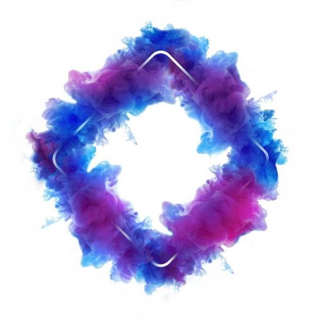 抽象蓝紫色烟雾环绕的菱形边框文本框信息框标题框575738png图片免抠素材