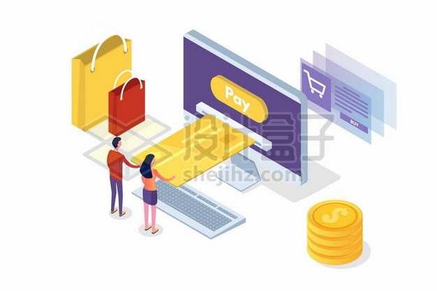 2.5D风格电脑上的购物页面购物袋和信用卡金币633965png矢量图片素材