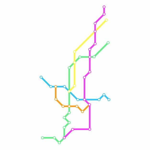 彩色线条银川地铁线路规划矢量图片913734