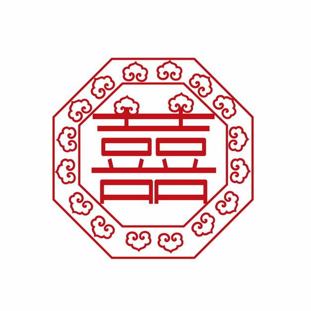 红双喜红色剪纸573233png矢量图片素材