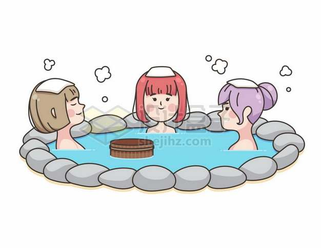 泡温泉的三个女孩手绘插画536060png矢量图片素材