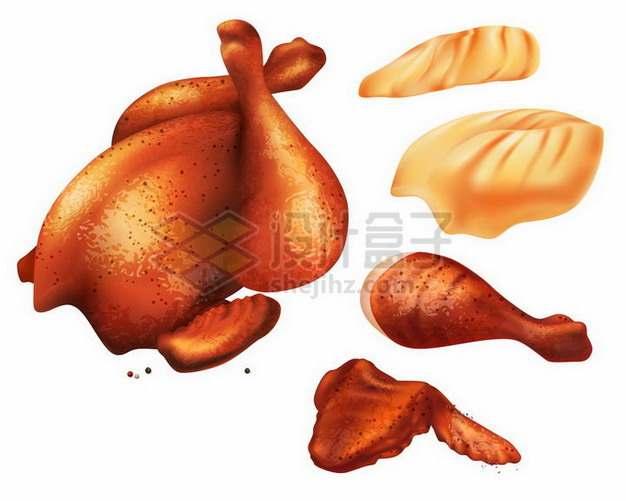 烤鸡烧鸡和扯下来的香辣鸡腿鸡翅701931png矢量图片素材