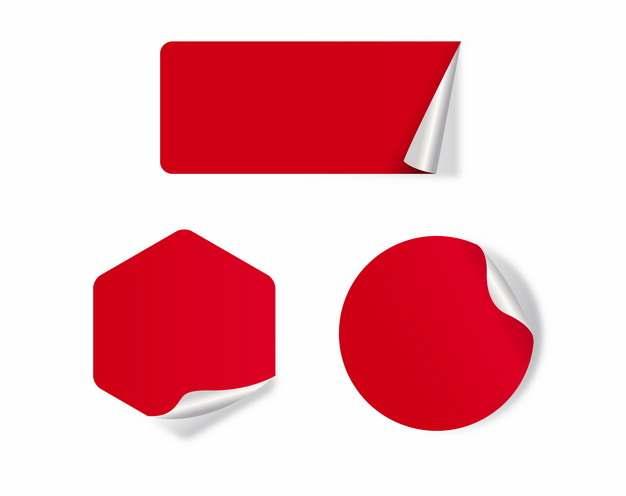 三款翘边的红色贴纸653808png矢量图片素材