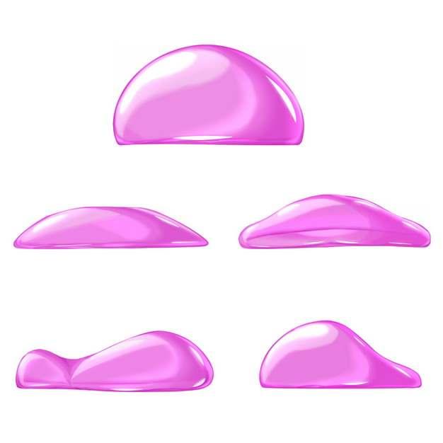 5款粉红色水滴水珠液体效果973587png图片免抠素材
