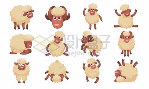 12款卡通绵羊小羊233277png矢量图片素材