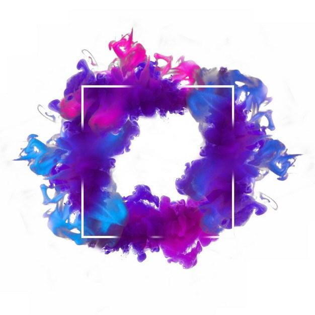 抽象蓝紫红色烟雾环绕的方形边框文本框信息框标题框292366png图片免抠素材 边框纹理-第1张