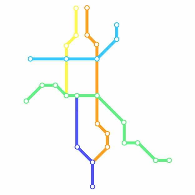 彩色线条绍兴地铁线路规划矢量图片632314