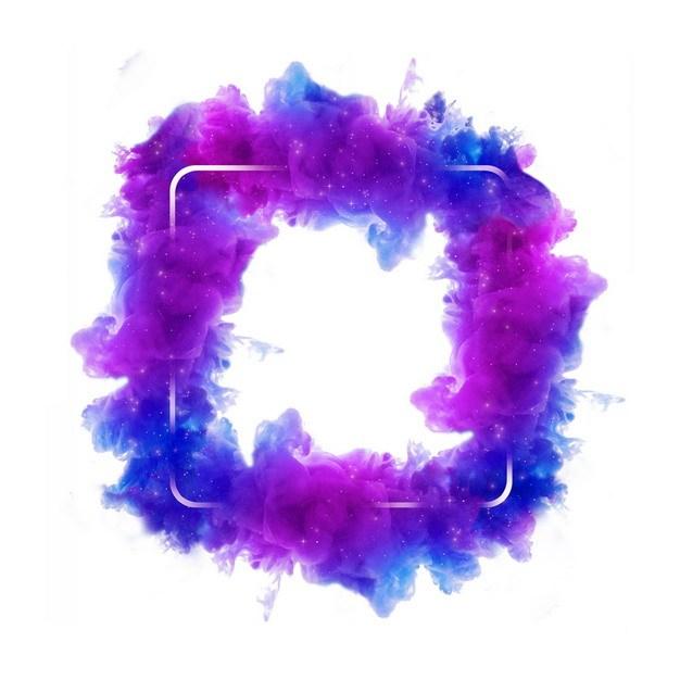 抽象蓝紫色烟雾环绕的圆角方形边框文本框信息框标题框338358png图片免抠素材 边框纹理-第1张