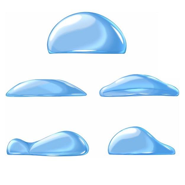 5款蓝色水滴水珠液体效果151032png图片免抠素材 效果元素-第1张