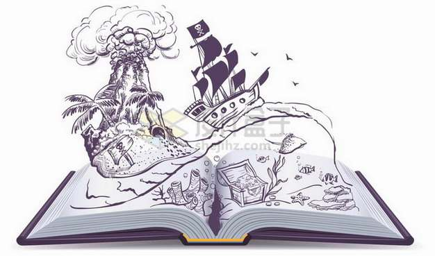 翻开的书本上的海盗船和宝藏岛屿100800png矢量图片素材