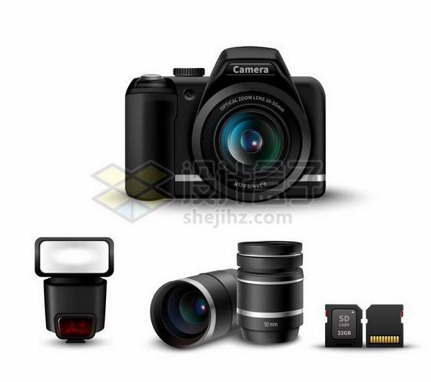 佳能数码单反相机和闪光灯长焦镜头SD卡等数码相机配件704470png矢量图片素材 IT科技-第1张