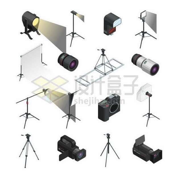 2.5D风格射灯闪光灯照相机和摄像机等拍照工具727288png矢量图片素材