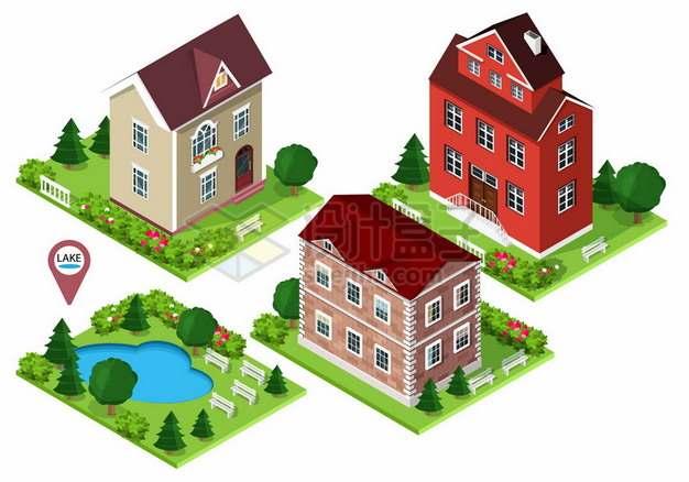3款2.5D风格楼房别墅小公园470855png矢量图片素材