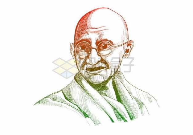 彩色素描印度圣雄甘地手绘画像169822png矢量图片素材