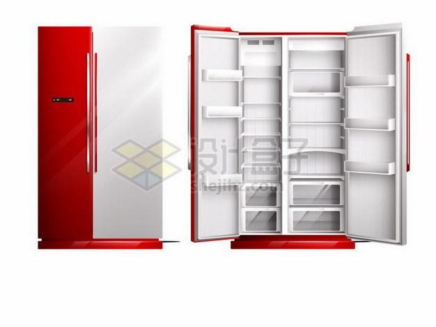 关闭和打开的双门电冰箱空空如也828064png矢量图片素材 生活素材-第1张
