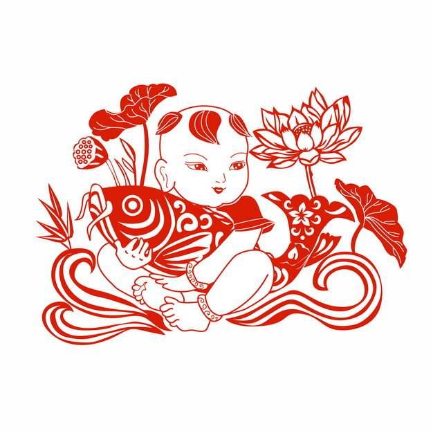 中国风新年宝宝抱着鲤鱼荷花荷叶红色剪纸487714png矢量图片素材