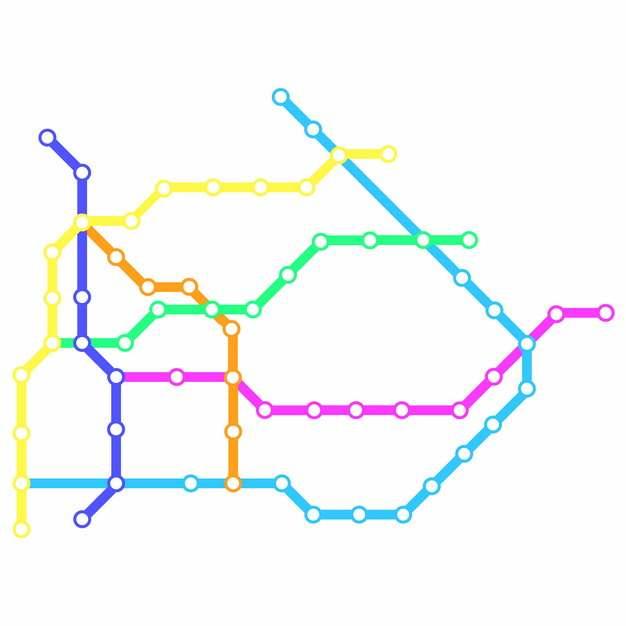 彩色线条乌鲁木齐地铁线路规划矢量图片274303