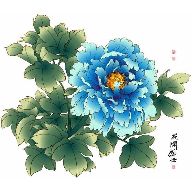 蓝色芍药花国画插画134016png图片素材