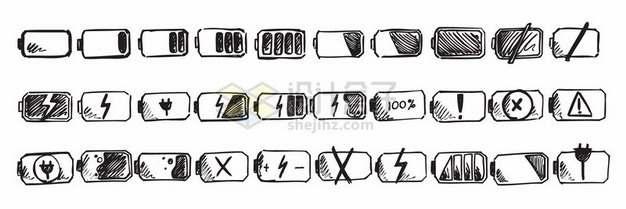 30款手绘黑色涂鸦风格电池电量显示图标320892png矢量图片素材