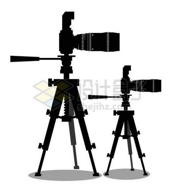 两款放在三脚架上的长焦数码照相机剪影445777png矢量图片素材