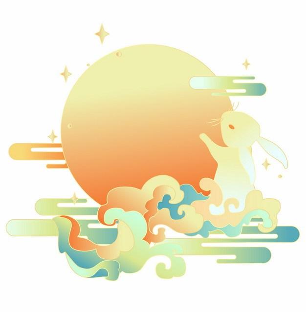 中秋节卡通玉兔踩着祥云拥抱月亮插画230994png矢量图片素材 节日素材-第1张