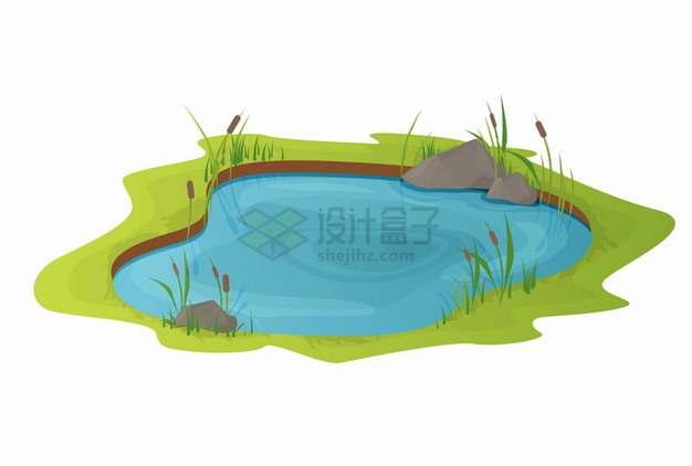 碧蓝色的卡通池塘和周围的草地草坪png图片素材