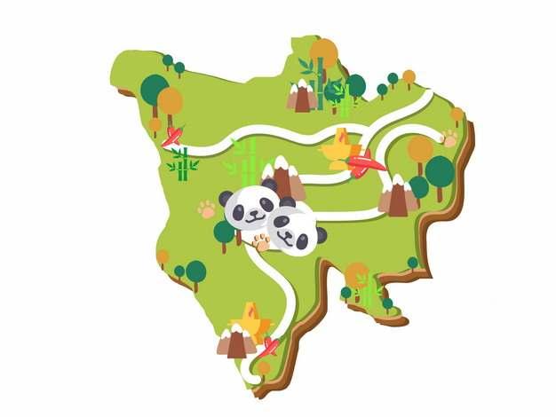 卡通风格四川省旅游地图418198png图片素材