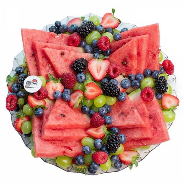 西瓜树莓蓝莓提子等水果拼盘364437png图片素材