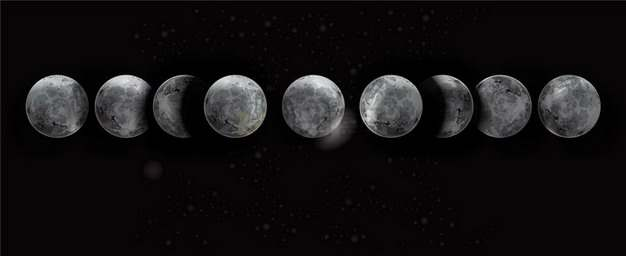 超逼真的月球月相变化883066png矢量图片素材