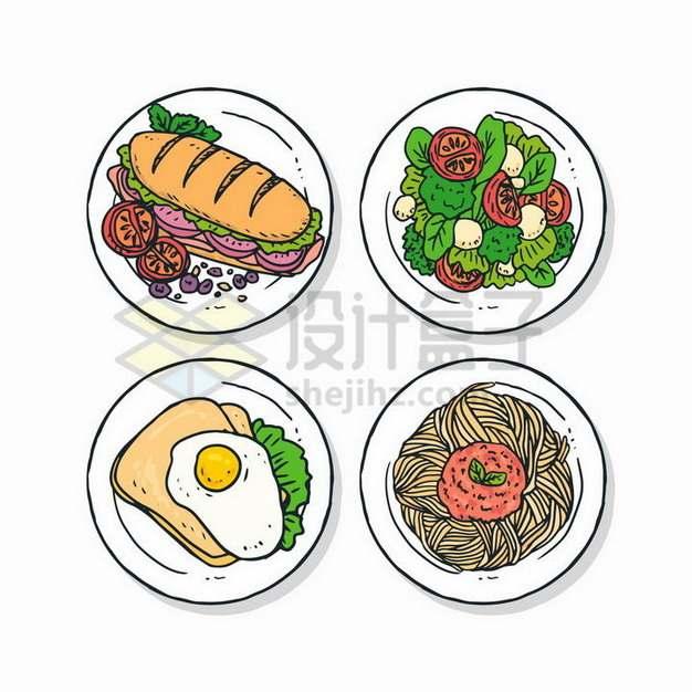 三明治蔬菜色拉煎蛋面条手绘美食146525png矢量图片素材