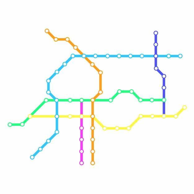 彩色线条邯郸地铁线路规划矢量图片606974