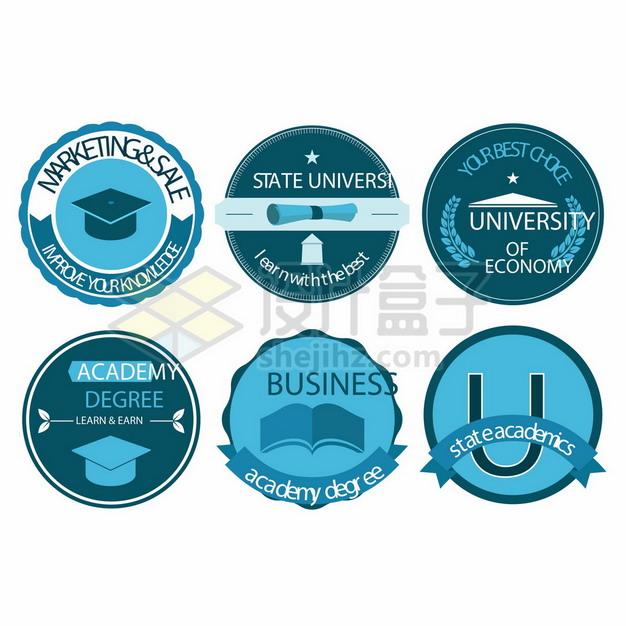 6款蓝色班徽设计图案大全597932png矢量图片素材 教育文化-第1张