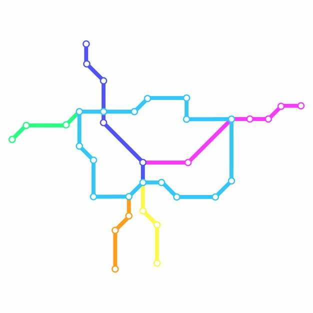 彩色线条包头地铁线路规划矢量图片991652