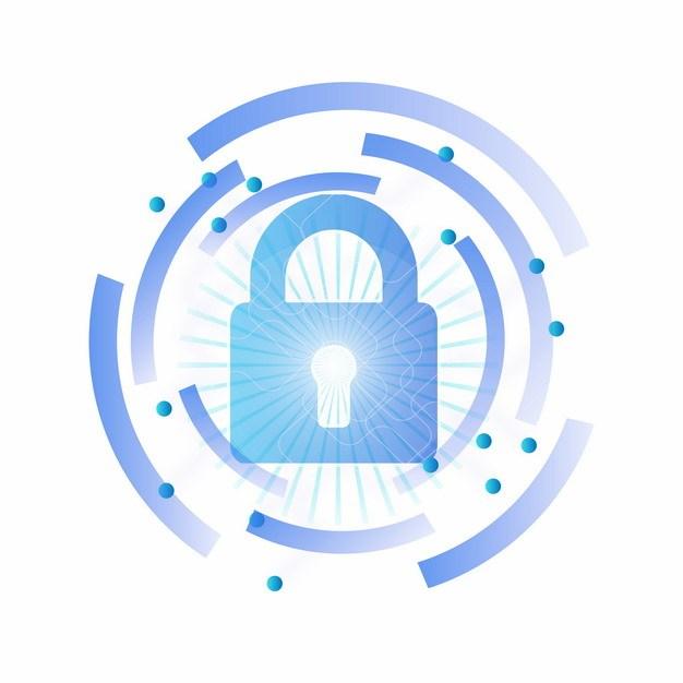 蓝色科技风格挂锁图案773839png矢量图片素材 IT科技-第1张