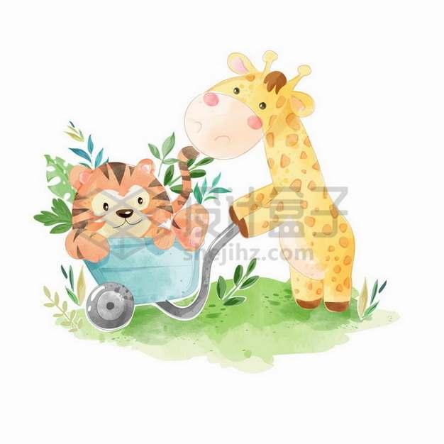 卡通长颈鹿和老虎一起玩耍水彩插画288887png矢量图片素材