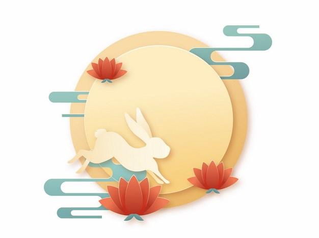 彩色剪纸中国风中秋节月亮和玉兔图案452882png矢量图片素材 节日素材-第1张