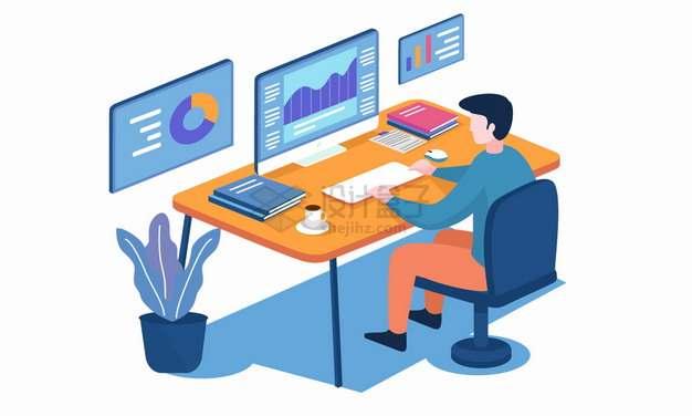 程序员正在办公桌前学习网络技术网络授课png图片素材