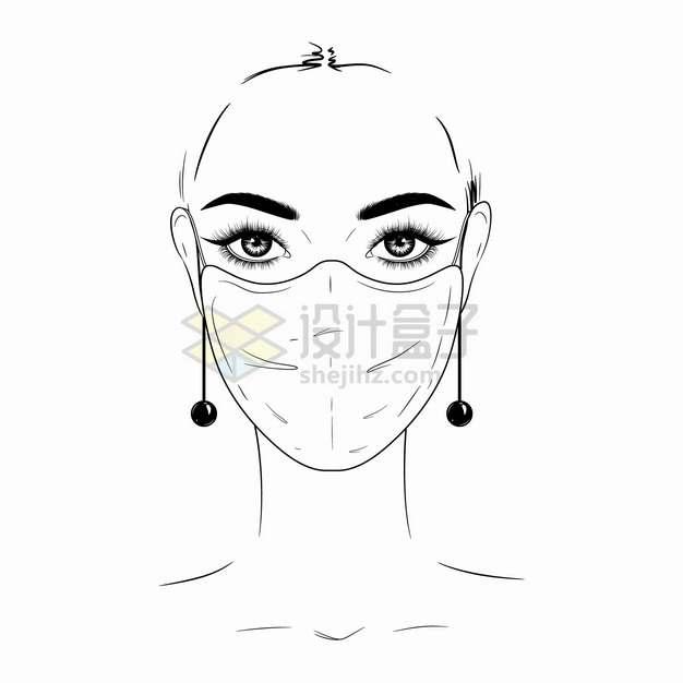 戴口罩的美女手绘线条素描插画png图片素材