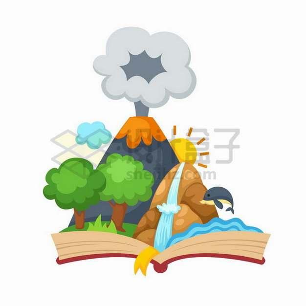 打开书本上的火山喷发风景图插画698165png矢量图片素材