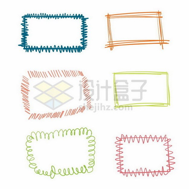 6款彩色涂鸦风格线条文本框信息框边框627286png矢量图片素材 边框纹理-第1张