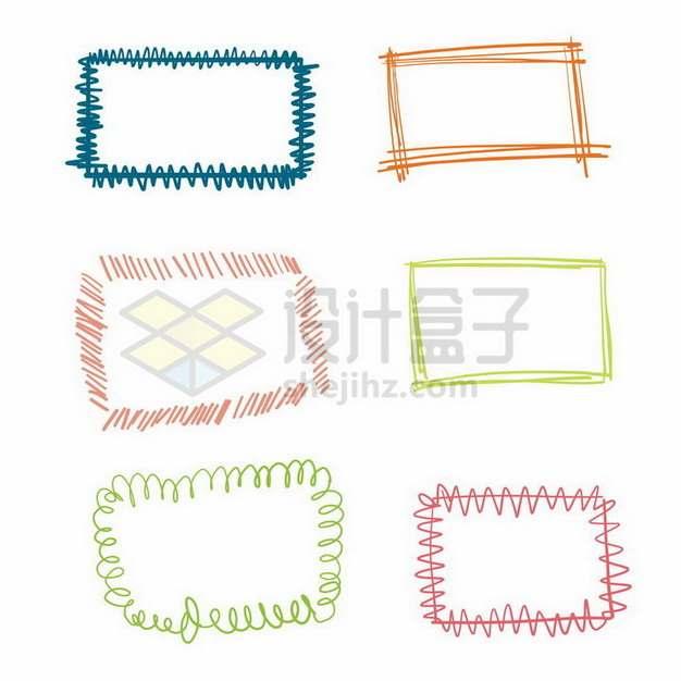 6款彩色涂鸦风格线条文本框信息框边框627286png矢量图片素材