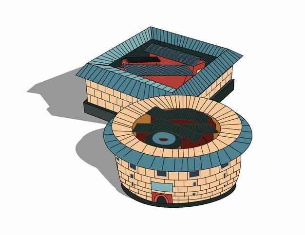 方形和圆形福建永定土楼中国传统民居建筑249298png矢量图片素材 建筑装修-第1张