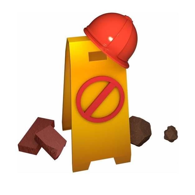 破碎的三角警示牌和红色安全帽154521png图片免抠素材