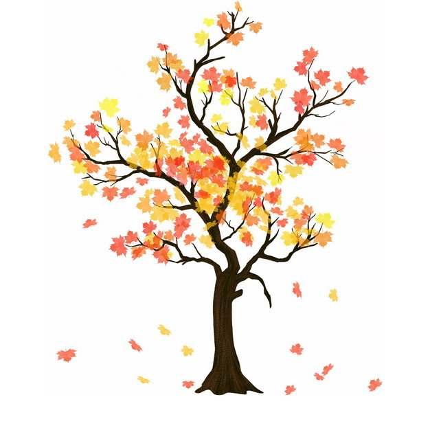 秋天枝头飘落树叶的大树插画596609png图片免抠素材
