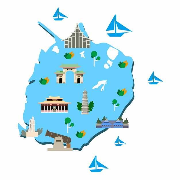 卡通风格福建厦门旅游地图202001png图片素材
