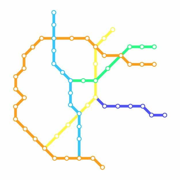 彩色线条呼和浩特地铁线路规划矢量图片532998