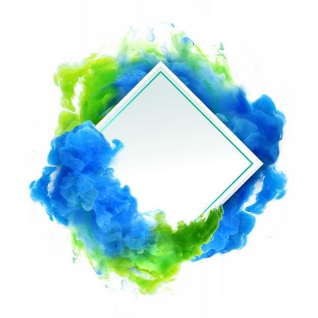 抽象蓝绿色烟雾环绕的菱形边框文本框信息框标题框676153png图片免抠素材